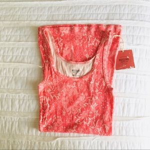 Coral Lace Printed Tank Top